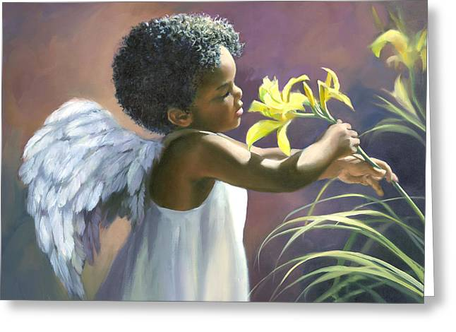 Little Black Angel Greeting Card by Laurie Hein