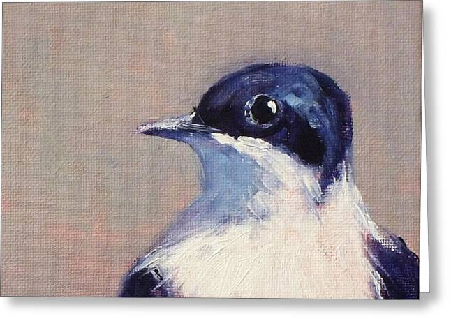 Thrush Greeting Cards - Little Blue and White Greeting Card by Nancy Merkle