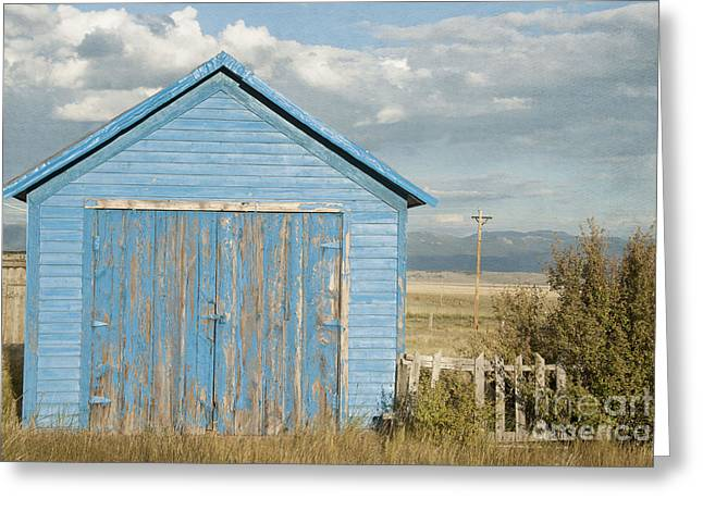 Disused Greeting Cards - Little Blue Building Greeting Card by Juli Scalzi