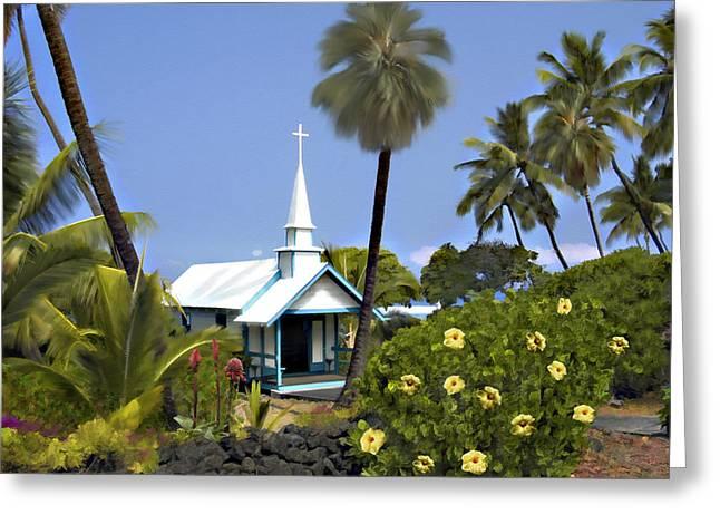 Wedding Chapel Greeting Cards - Little blue church Kona Greeting Card by Kurt Van Wagner