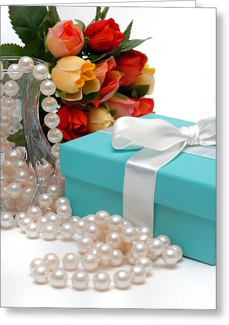 Bouquet Greeting Cards - Little Blue Gift Box with Pearls and Flowers Greeting Card by Amy Cicconi
