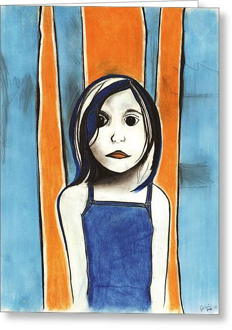 Creepy Pastels Greeting Cards - Little Blue Girl Greeting Card by Anna Kaszupski