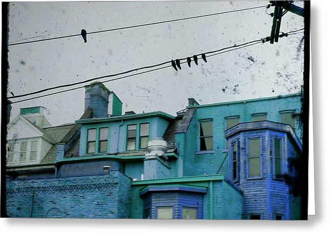 Urban Images Greeting Cards - Little Blue Houses Greeting Card by Gothicolors Donna Snyder