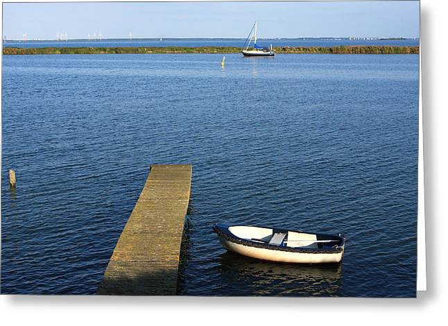Village Life Greeting Cards - Little Boat By The Dock Greeting Card by Aidan Moran