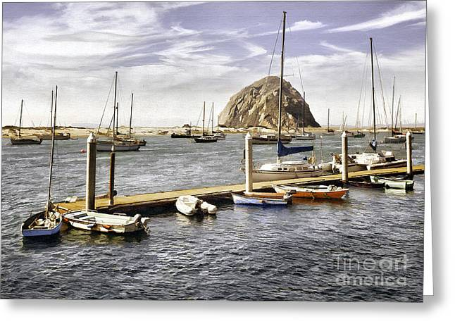 Morro Bay Harbor Greeting Cards - Little Boat Pier Greeting Card by Sharon Foster