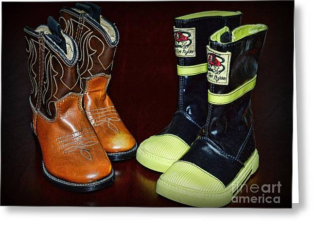 Fireman Boots Greeting Cards - Little Boots Greeting Card by Paul Ward