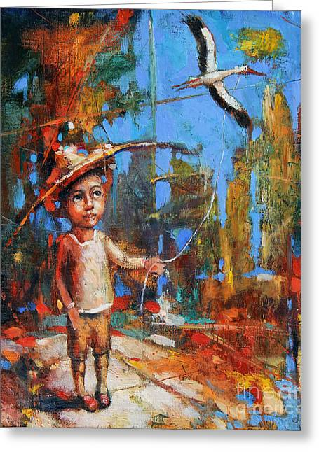 White Cloth Greeting Cards - Little Boy and Kite Greeting Card by Michal Kwarciak