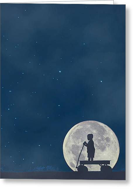 Radio Flyer Wagon Greeting Cards - Little Boy Blue and the Man on the Moon Greeting Card by Carrie Ann Grippo-Pike