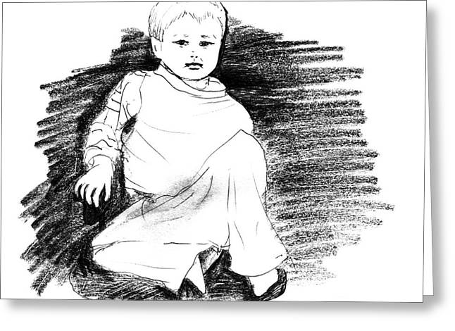 Grungy Drawings Greeting Cards - Little boy Greeting Card by Christina Rahm