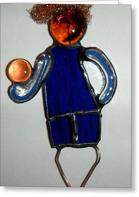 Boy Glass Greeting Cards - Little boy Greeting Card by Nora Solomon
