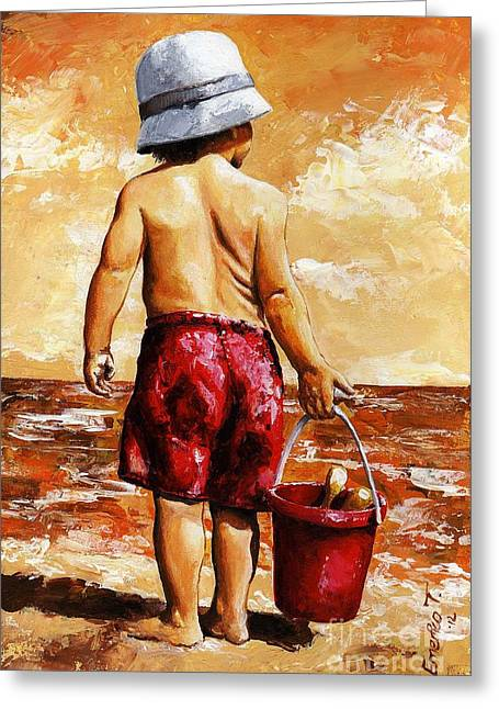 Little Boy Greeting Cards - Little Boy on the Beach II Greeting Card by Emerico Imre Toth