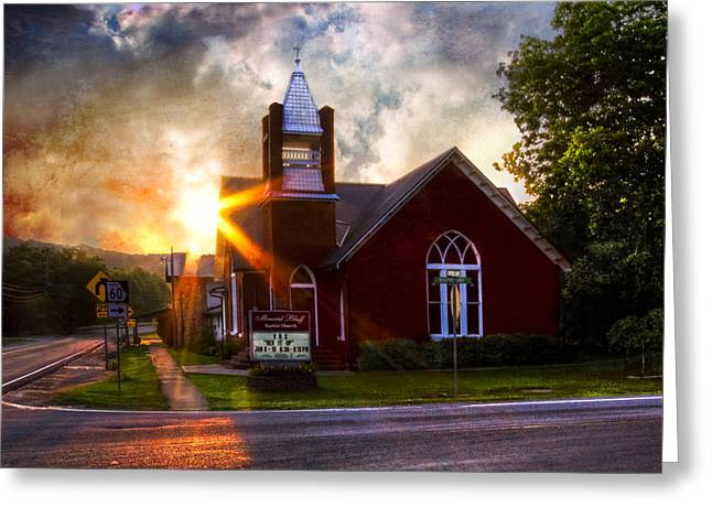 Rural Schools Greeting Cards - Little Brick Chapel Greeting Card by Debra and Dave Vanderlaan