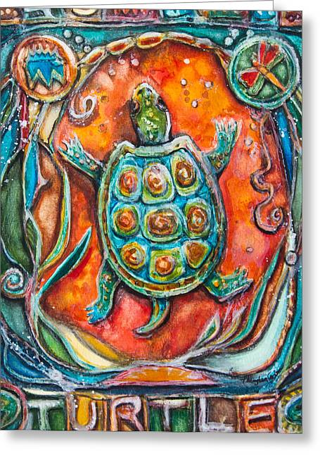 Fine Mixed Media Greeting Cards - Little Brother Turtle II Greeting Card by Patricia Allingham Carlson