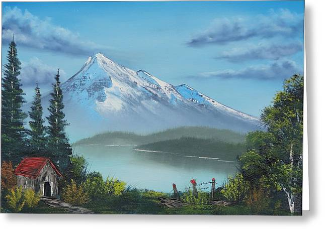 Bob Ross Paintings Greeting Cards - Little Cabin at the Lake Greeting Card by Bob Williams