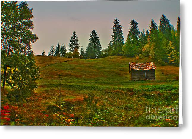 Pause Greeting Cards - Little cabin in the mountains Greeting Card by Claudia Mottram