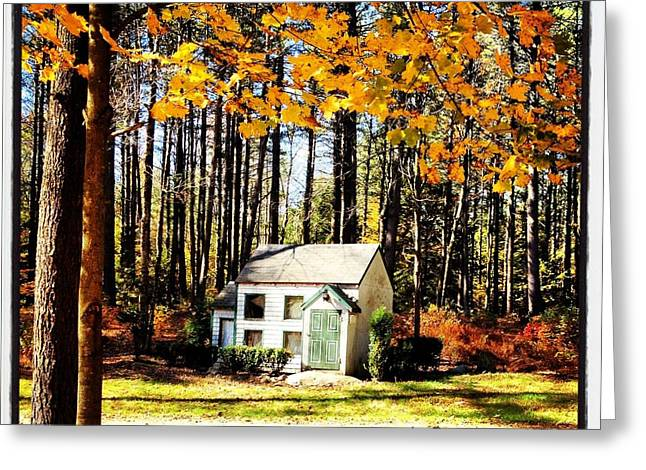 Little Pyrography Greeting Cards - Little Cabin in the Woods Greeting Card by Amanda Enos
