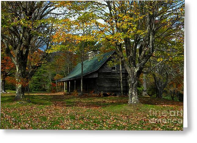 Log Cabin Art Greeting Cards - Little Cabin in the Woods Greeting Card by Benanne Stiens