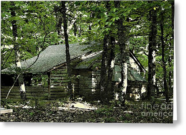 Stein Digital Art Greeting Cards - Little Cabin In The Woods Greeting Card by Nancy E Stein