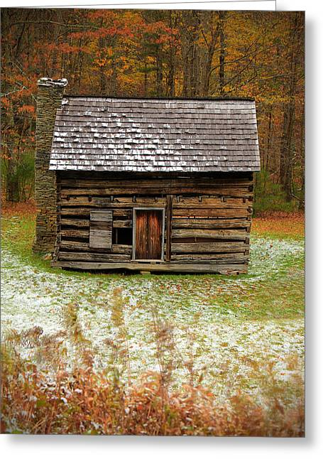 Old Cabins Greeting Cards - Little Cabin Greeting Card by Jaki Miller