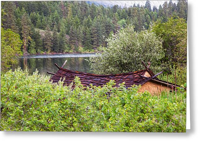Owfotografik Greeting Cards - Little Cabin on a Lake Greeting Card by Omaste Witkowski