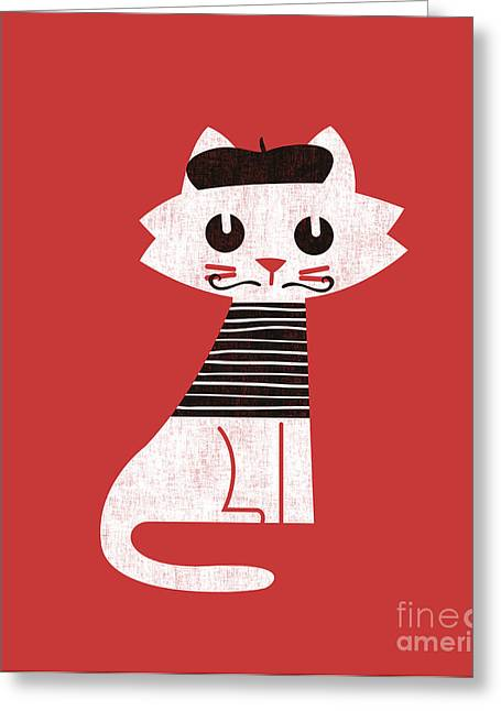Funny Greeting Cards - Little cat in paris Greeting Card by Budi Kwan