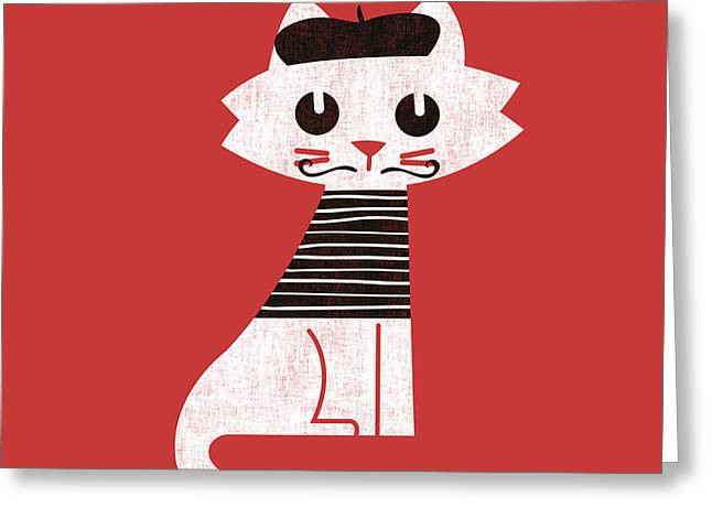 Parisian Cat Greeting Card by Nava Seas