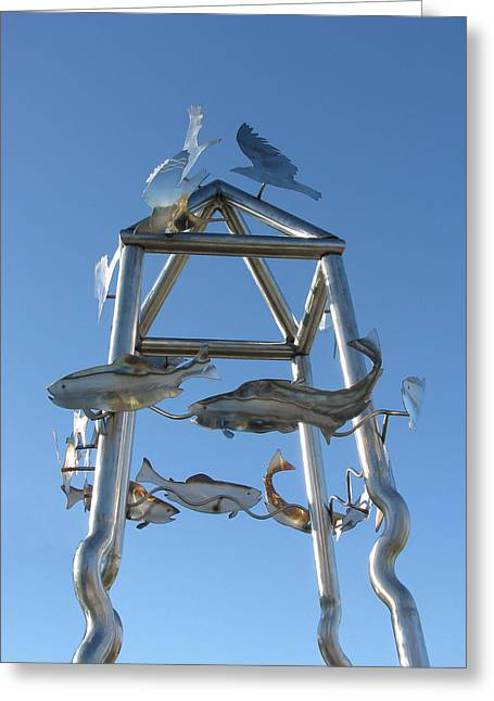 Steel Sculptures Greeting Cards - Little Chico Creek Sculpture Close Greeting Card by Peter Piatt