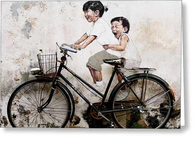 Donald Chen Greeting Cards - Little Children on a Bicycle Greeting Card by Donald Chen