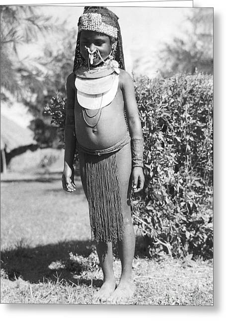Primitive Greeting Cards - Little Chimbu Girl Papua New Guinea Greeting Card by Peter Skinner The Ian Skinner Collection