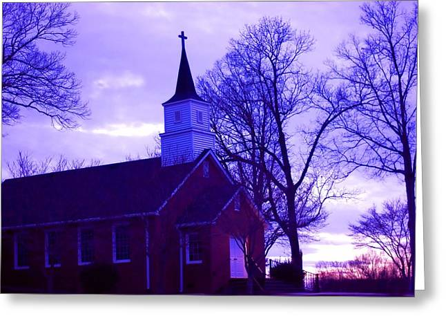 Charlotte Digital Art Greeting Cards - Little Church at Night Greeting Card by Morgan Carter