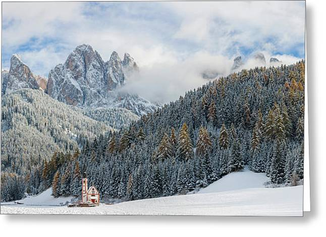 European Alps Greeting Cards - Little Church At The Snowy Valley Greeting Card by Panoramic Images