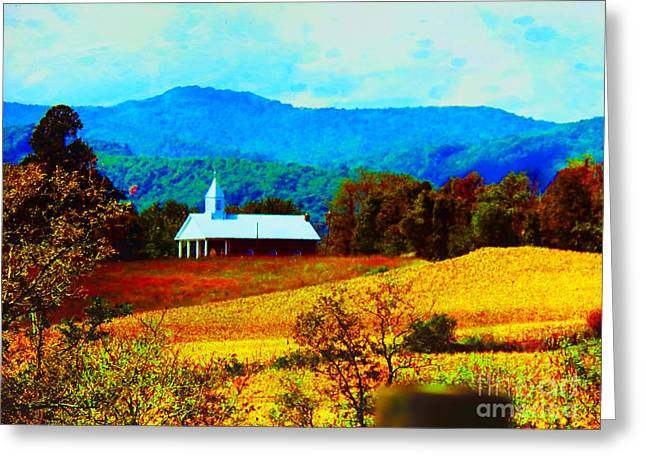 Steeple Mixed Media Greeting Cards - Little Church in the Mountains of WV Greeting Card by Gena Weiser