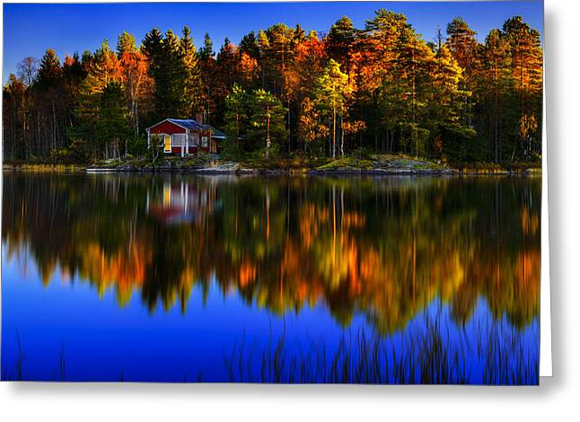 Marek Czaja Greeting Cards - Little Cottage By The Lake Greeting Card by Marek Czaja