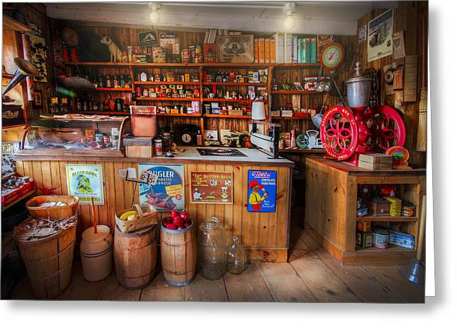 Dime Store Greeting Cards - Little Country Grocery  Greeting Card by Debra and Dave Vanderlaan