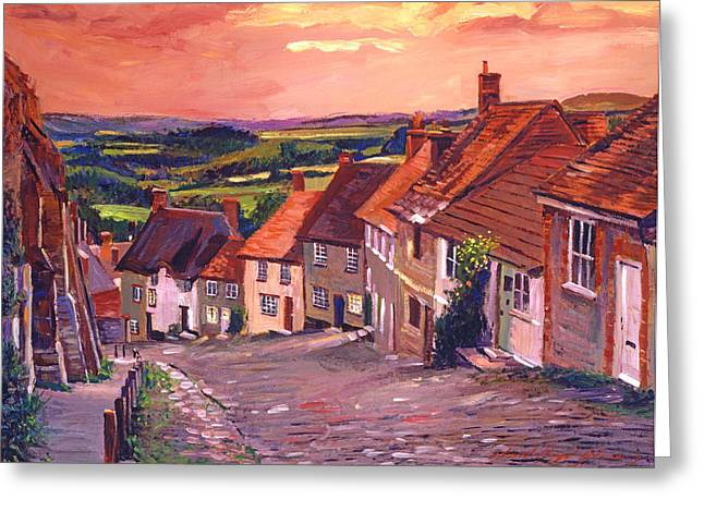 Evening Lights Paintings Greeting Cards - Little Country Village England Greeting Card by David Lloyd Glover