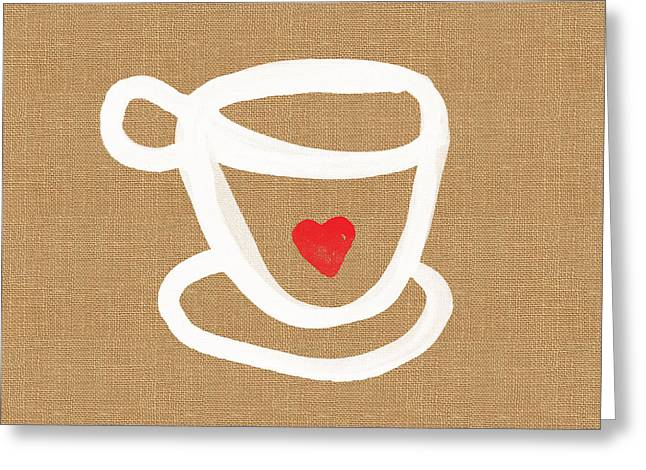 Teacup Greeting Cards - Little Cup of Love Greeting Card by Linda Woods