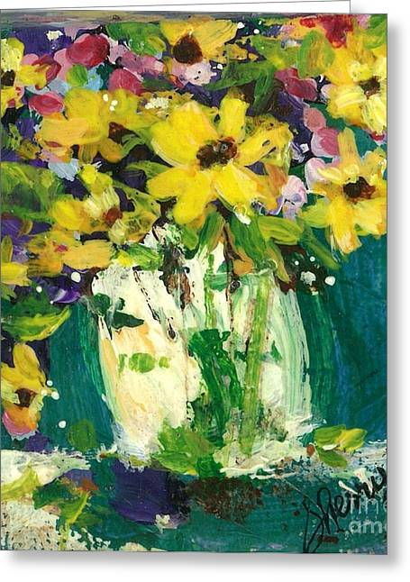 Wild Orchards Paintings Greeting Cards - Little Daisies Greeting Card by Sherry Harradence