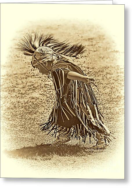 Fancy-dancer Greeting Cards - Little Dancer sepia Greeting Card by Scarlett Images Photography