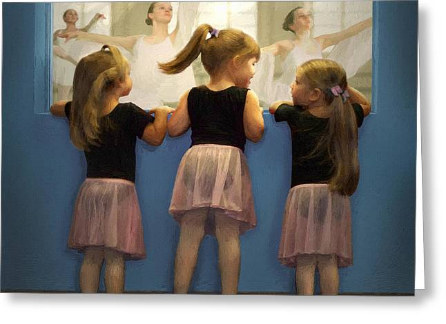 Ballet Dancers Greeting Cards - Little Dancing Dreamers Greeting Card by Doug Kreuger