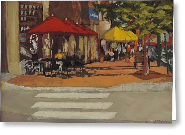 Crosswalk Paintings Greeting Cards - Little Dog and Beyond Greeting Card by Bill Tomsa