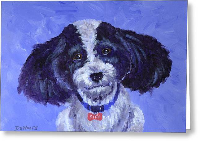 Dog Paintings Greeting Cards - Little Dog Blue Greeting Card by Richard De Wolfe