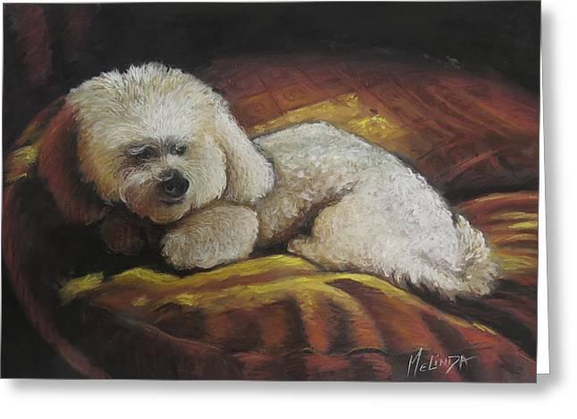 Small Dog Pastels Greeting Cards - Little Dog on her Plllow Greeting Card by Melinda Saminski