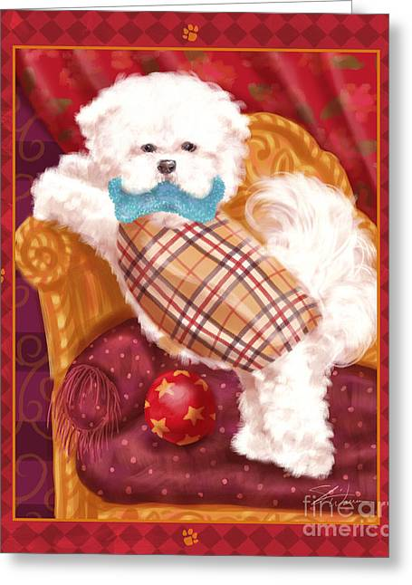 Dog Prints Mixed Media Greeting Cards - Little Dogs - Bichon Frise Greeting Card by Shari Warren