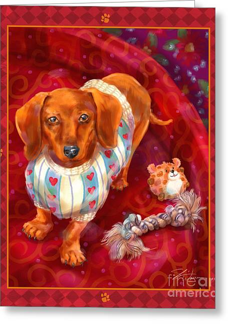Dog Prints Mixed Media Greeting Cards - Little Dogs - Dachshund Greeting Card by Shari Warren