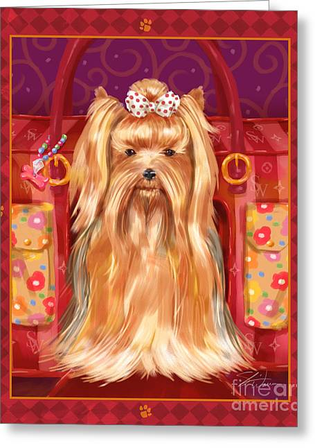 Dog Prints Mixed Media Greeting Cards - Little Dogs - Yorkshire Terrier Greeting Card by Shari Warren