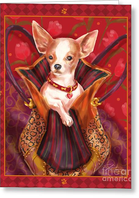 Dog Prints Mixed Media Greeting Cards - Little Dogs- Chihuahua Greeting Card by Shari Warren
