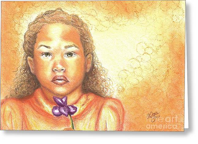 African-american Pastels Greeting Cards - Little Doll Greeting Card by Alga Washington