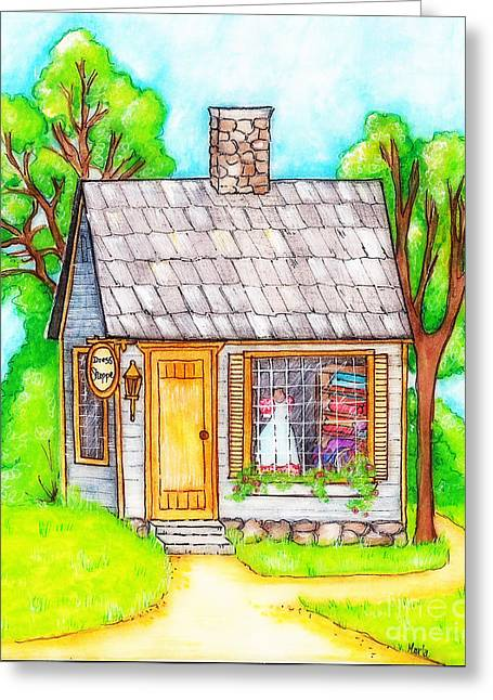 Country Schools Mixed Media Greeting Cards - Little Dress Shop Greeting Card by MarLa Hoover