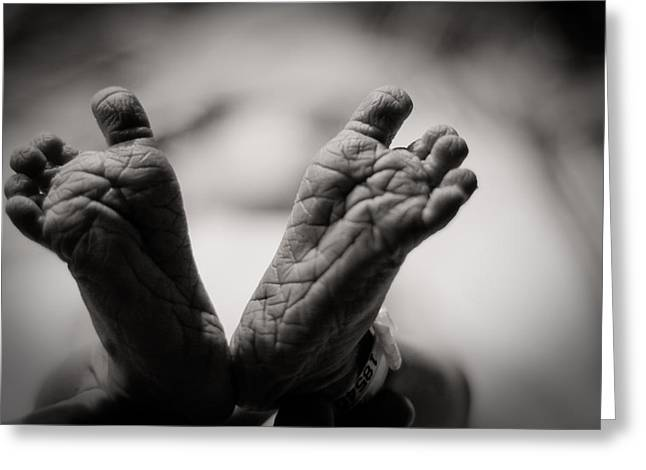 Monochrome Greeting Cards - Little Feet Greeting Card by Adam Romanowicz