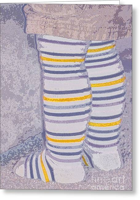 Leggings Greeting Cards - Little Feet-Yellow Greeting Card by Molly McPherson